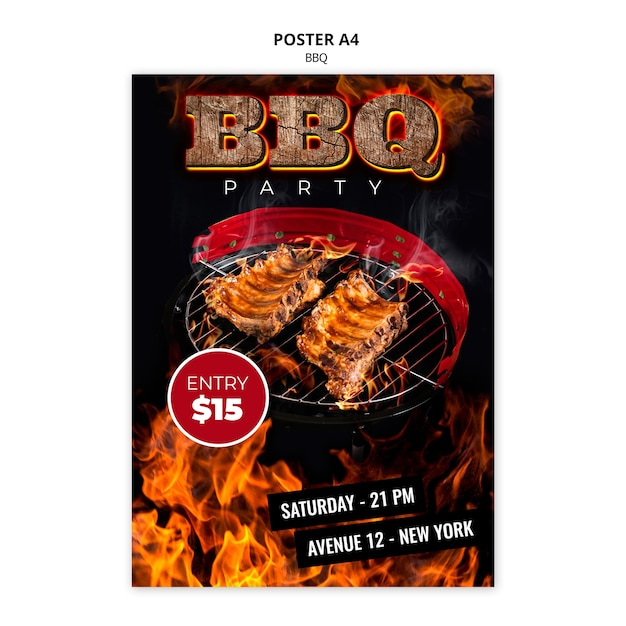 Bbq poster a4 template Free Psd