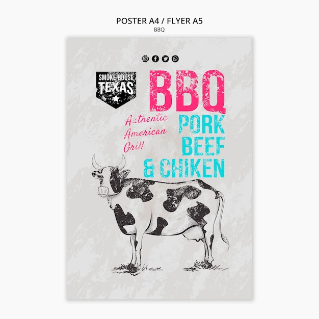 Bbq poster template with cow Free Psd