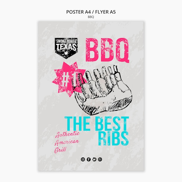 Bbq poster with grilled ribs Free Psd