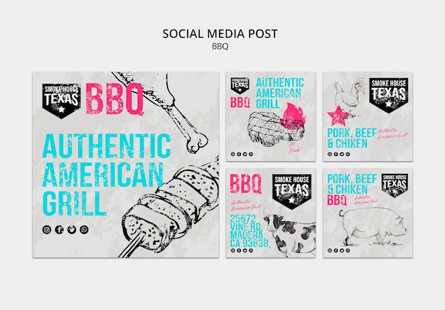 Bbq social media post collection Free Psd