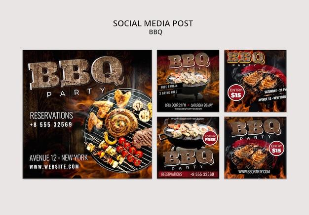Шаблон поста в социальных сетях для барбекю Бесплатные Psd