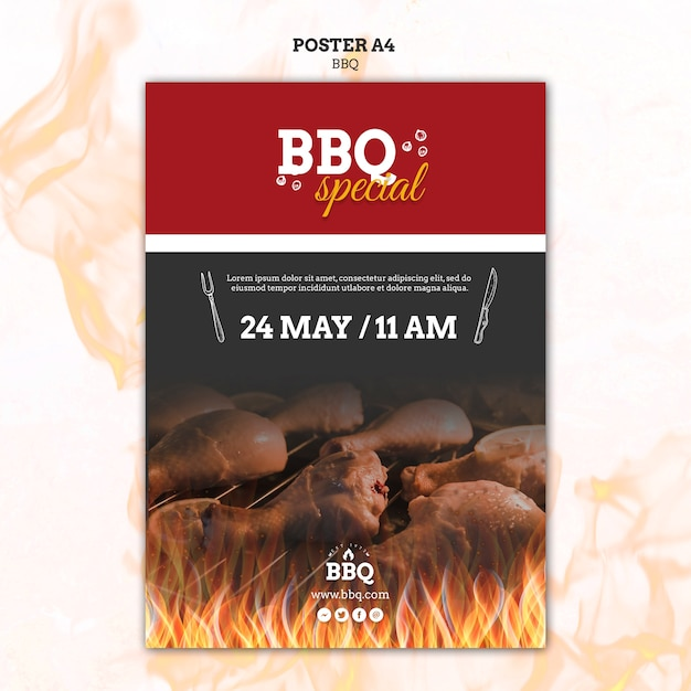 Bbq special and grill poster template Free Psd