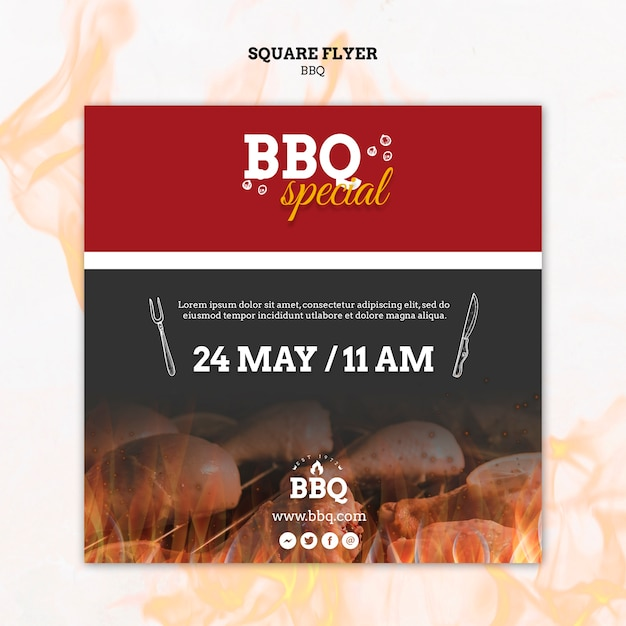 Bbq special and grill square flyer template Free Psd