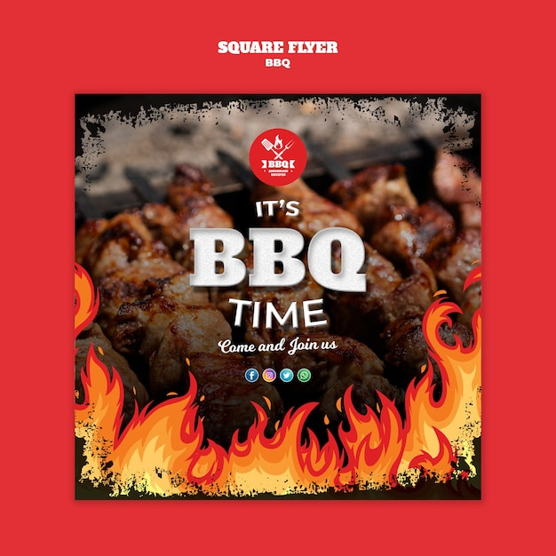 Bbq square flyer concept template Free Psd