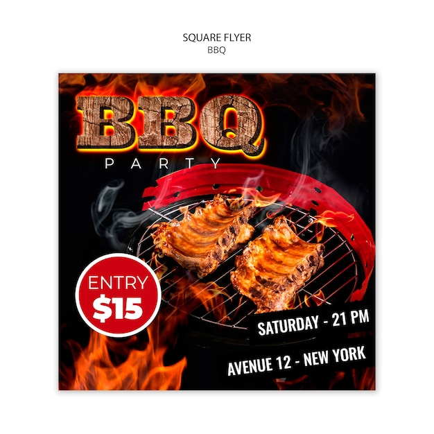 Bbq square flyer template Free Psd