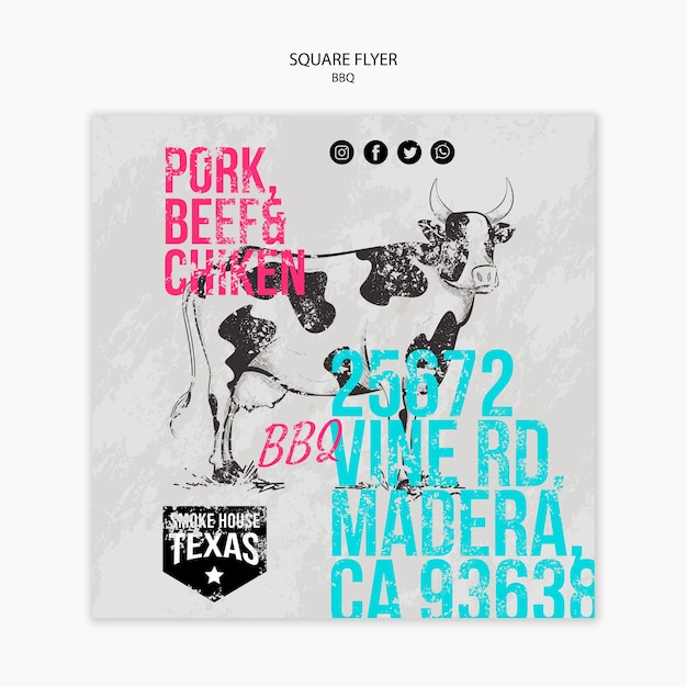 Bbq square flyer with cow hand drawn Free Psd