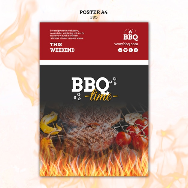 Bbq time and grill poster template Free Psd