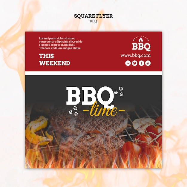 Bbq time and grill square flyer template Free Psd