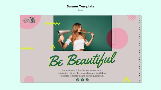 Sii bellissimo banner web template Psd Gratuite