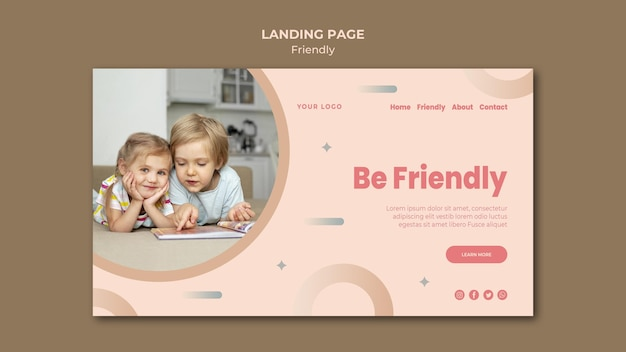 Будьте дружелюбны, шаблон целевой страницы Бесплатные Psd