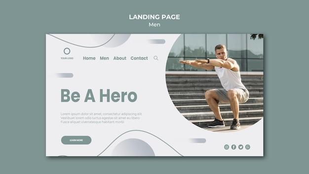 Be a hero, do sport outdoors landing page Free Psd