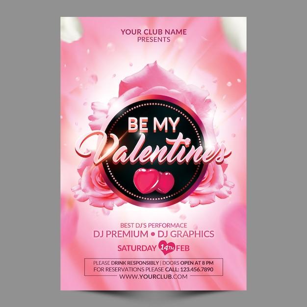 Be my valentines flyer template Premium Psd