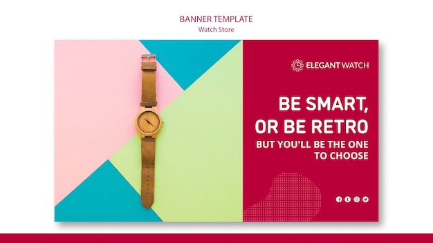 Be smart or be retro banner template Free Psd