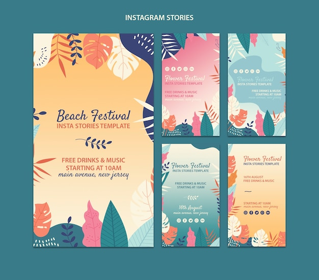 Beach festival instagram stories template collection Free Psd