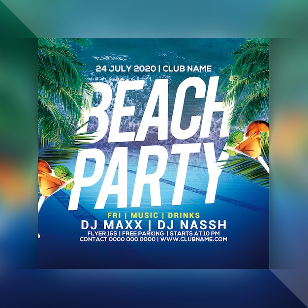 Beach party flyer Premium Psd