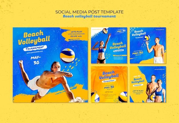 Шаблон сообщения в социальных сетях концепция пляжного волейбола Бесплатные Psd