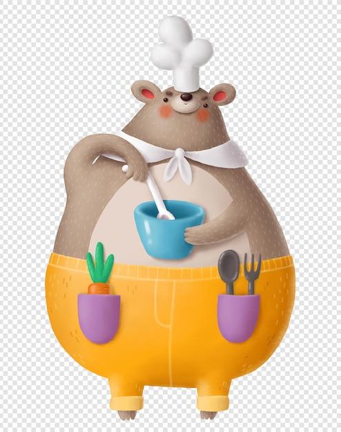 Медведь готовит, держа миску Premium Psd