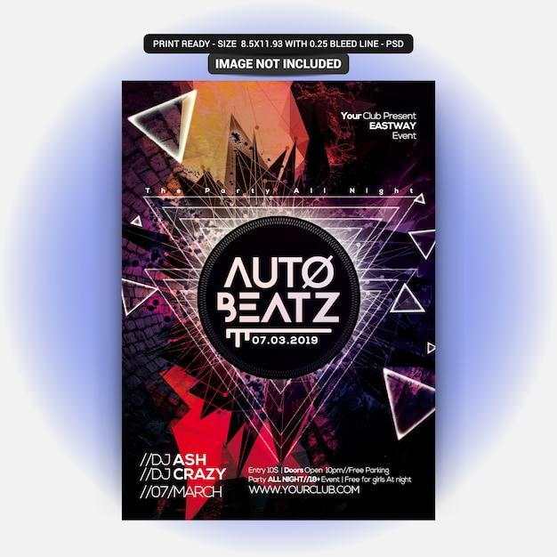 Автомат beatz party flyer Premium Psd