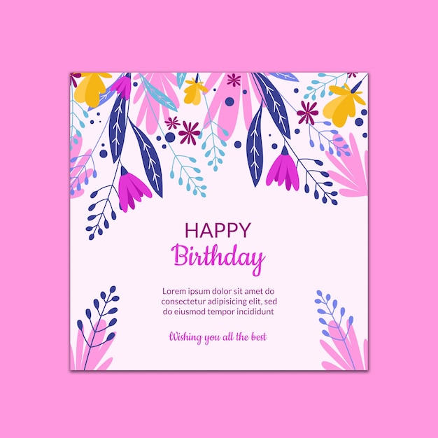 Beautiful birthday card template Free Psd