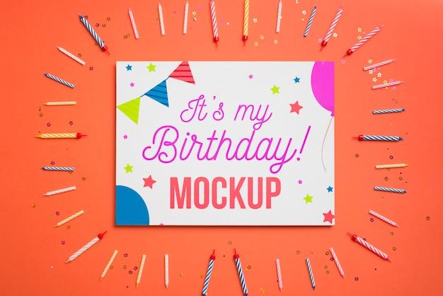 아름다운 생일 개념 모형 프리미엄 PSD 파일