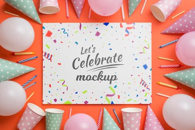 아름다운 생일 개념 모형 무료 PSD 파일