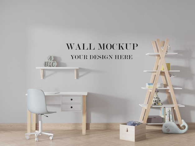 Красивый яркий детский макет пустой стены Premium Psd