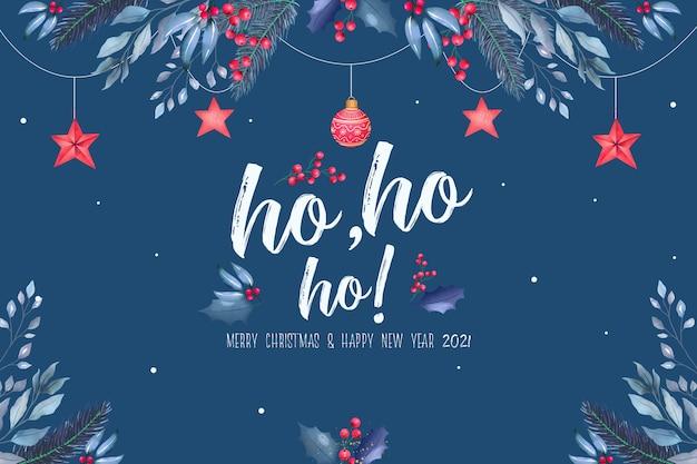 Красивый новогодний фон с синими и красными украшениями Бесплатные Psd