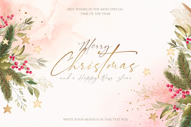 Beautiful christmas background with watercolor nature Free Psd
