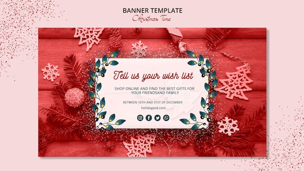 Beautiful christmas banner template concept Free Psd