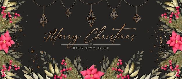 Beautiful christmas banner with nature and golden ornaments Free Psd