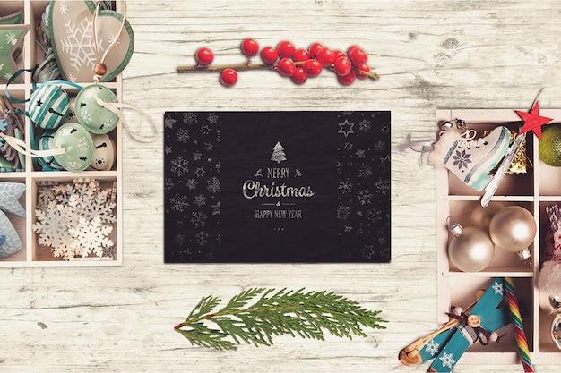 Красивый макет рождественской открытки Premium Psd