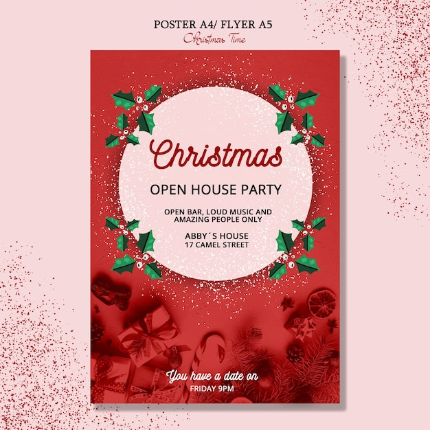 Beautiful christmas poster concept Free Psd