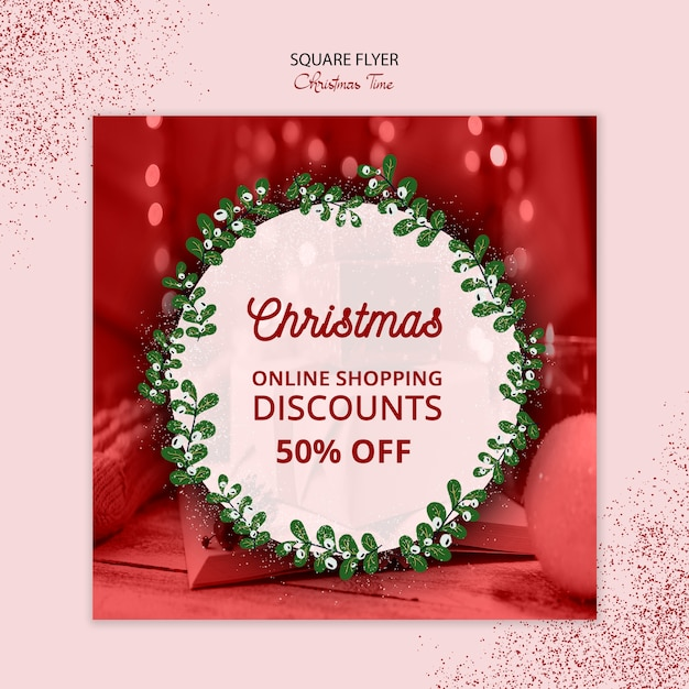Beautiful christmas square flyer sale concept Free Psd