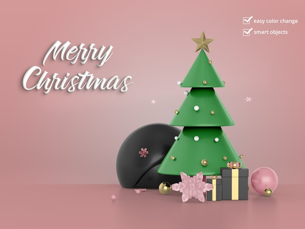 Beautiful christmas tree with gift box Premium Psd