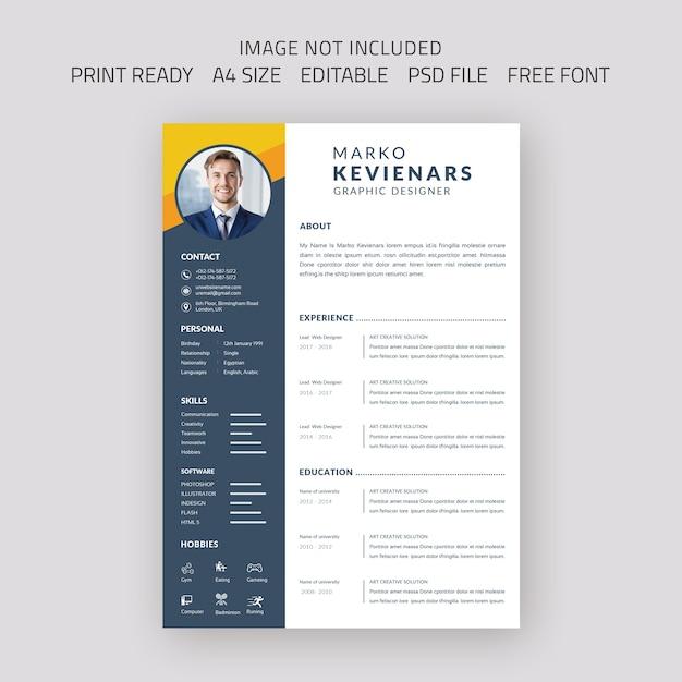 Beautiful cv resume template Premium Psd