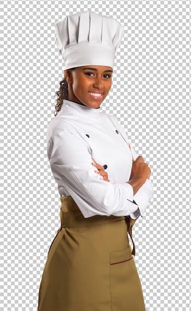 透明な空間にブラジル料理の美しい女性シェフ Premium Psd