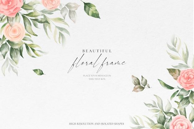 부드러운 자연과 아름 다운 꽃 프레임 배경 무료 PSD 파일