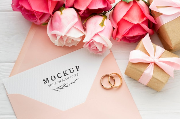 Beautiful floral wedding concept mock-up Free Psd