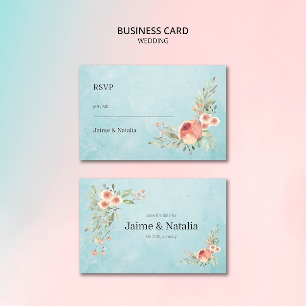 Beautiful floral wedding invitaion card Free Psd