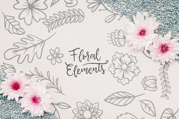Beautiful flower concept mock-up Free Psd