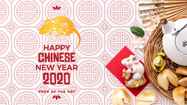 Beautiful happy chinese new year mock-up Free Psd