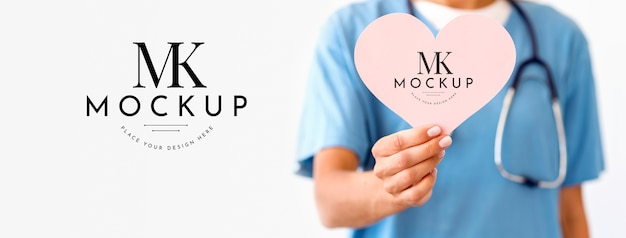 Mock-up di concetto di bel cuore Psd Gratuite