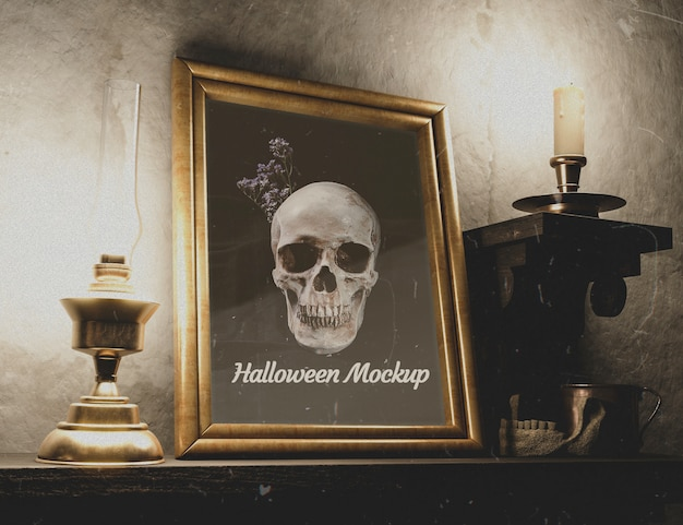 Beautiful horror decor with candlelight holders Free Psd