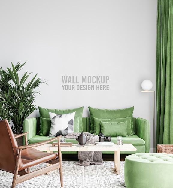 美しいインテリアリビングルームの壁のモックアップ Premium Psd
