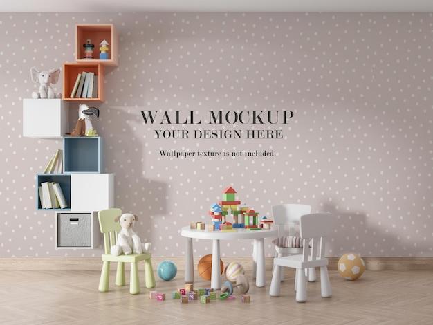 美しい子供のプレイルームの壁のモックアップデザイン Premium Psd