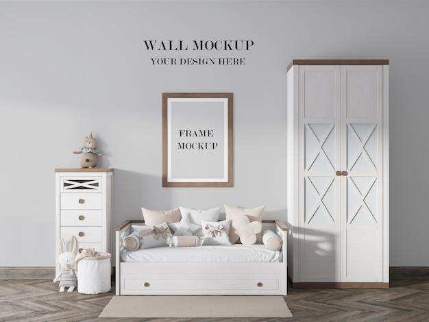 Красивый макет стены и рамки для детской комнаты Premium Psd