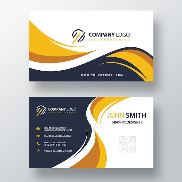 beautiful modern yellow business card Free Psd