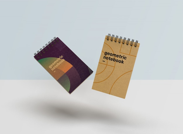 幾何学的なスタイルの美しいノートブックのモックアップpsd 無料 Psd