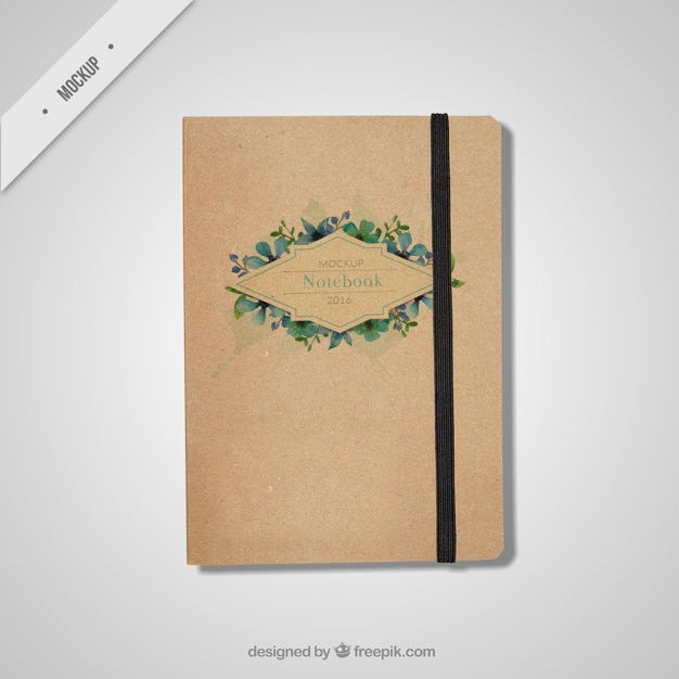 Beautiful notebook mockup in vintage style Free Psd