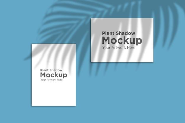 Beautiful plant shadow over paper mockup Premium Psd